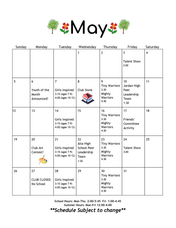 May 2019 Calendar – THE SANDY CLUB