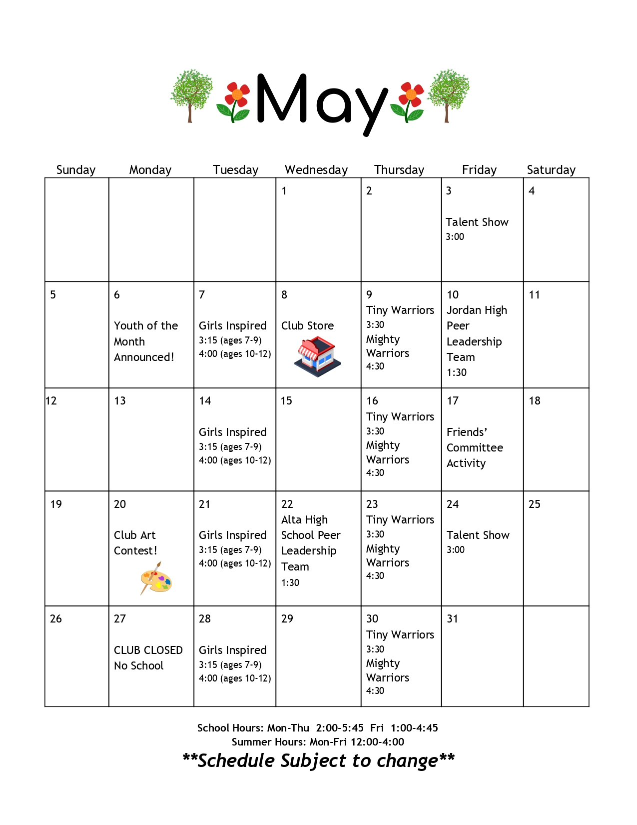 May 2019 Calendar The Sandy Club